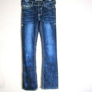 AFFLICTION JADE Dark Wash,Low Rise Distressed Jean